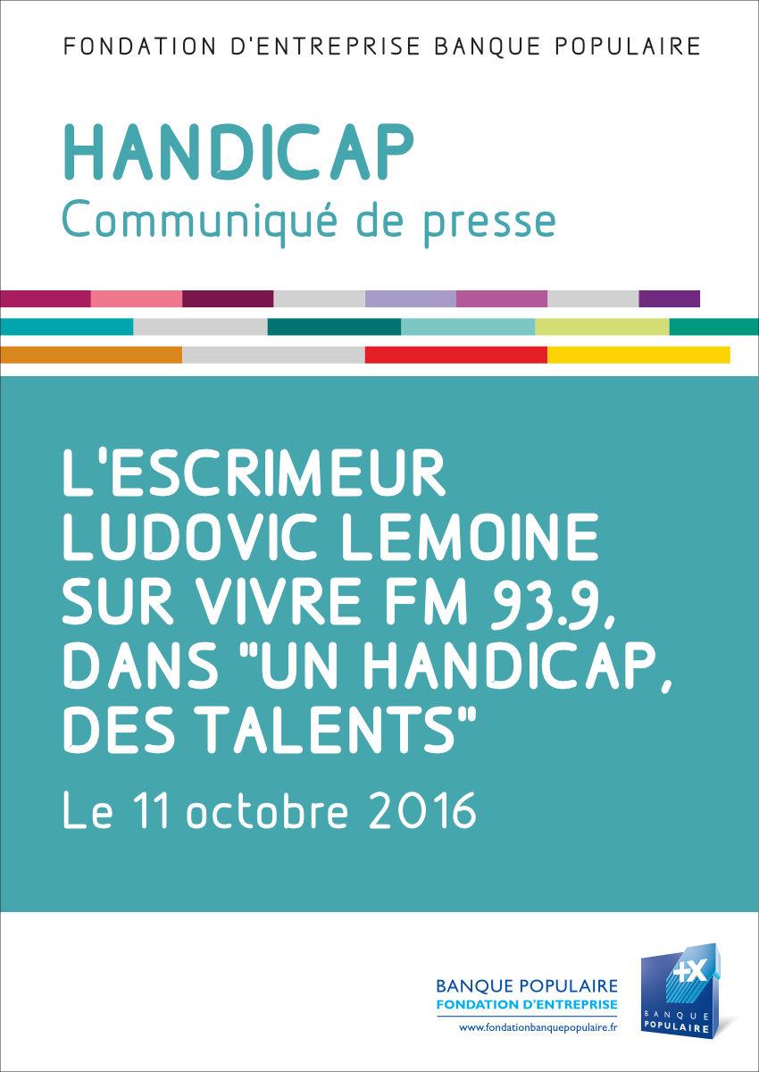 Communiqué de presse - L'escrimeur Ludovic Lemoine sur Vivre FM 93.9