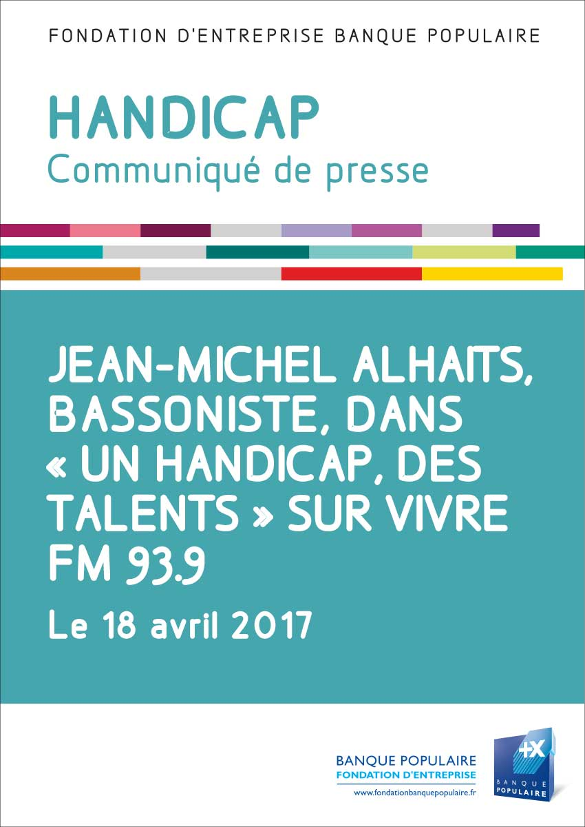 Communiqué de presse - Jean-Michel Alhaits, bassoniste, sur Vivre FM 93.9