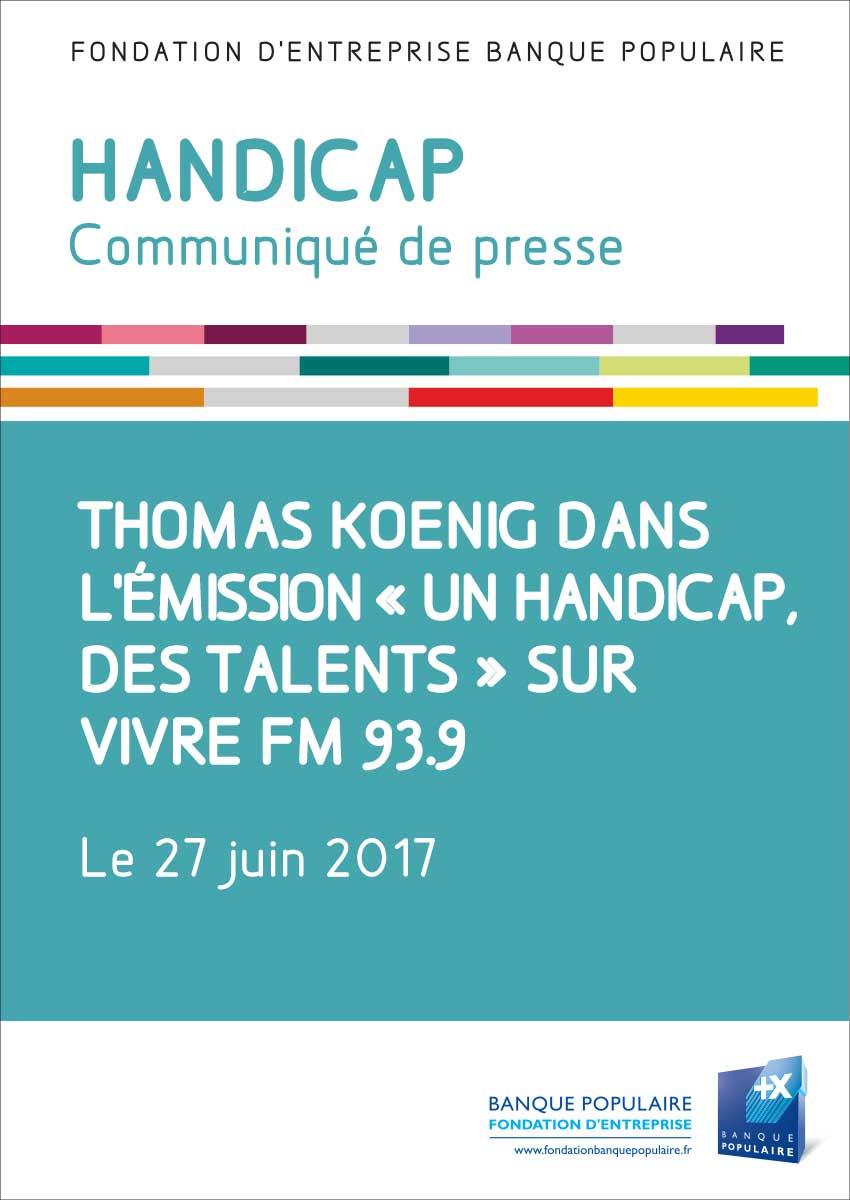 Communiqué de presse - Thomas Koenig, archetier, sur Vivre FM 93.9